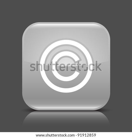 Gray glossy web button with copyright sign. Rounded square shape icon with black shadow and colored reflection on dark gray background. This vector illustration created and saved in 8 eps