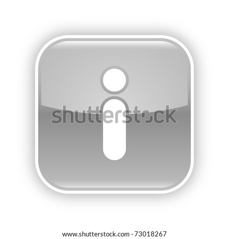 Gray glossy web 2.0 button with information icon. Rounded square sticker with shadow on white. 10 eps - stock vector