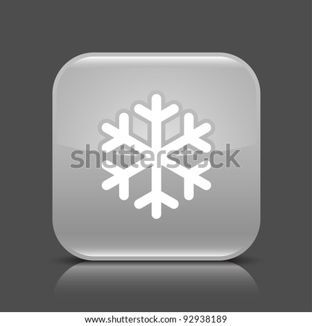 Gray glossy web button with low temperature sign snowflake symbol. Rounded square shape icon with black shadow and colored reflection on dark gray background. This vector illustration saved in 8 eps - stock vector