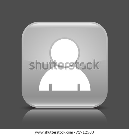 Gray glossy web button with user profile sign. Rounded square shape icon with black shadow and colored reflection on dark gray background. This vector illustration created and saved in 8 eps - stock vector