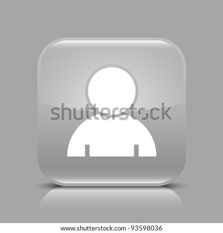 Gray glossy web button with user profile sign. Rounded square shape icon with black shadow and light reflection on gray background. This vector saved in 8 eps. See more buttons in my gallery - stock vector