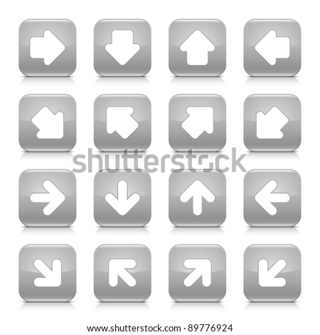 Gray glossy web button with white arrow sign. Rounded square shape internet icon with shadow and reflection on white background. This vector illustration saved in 8 eps