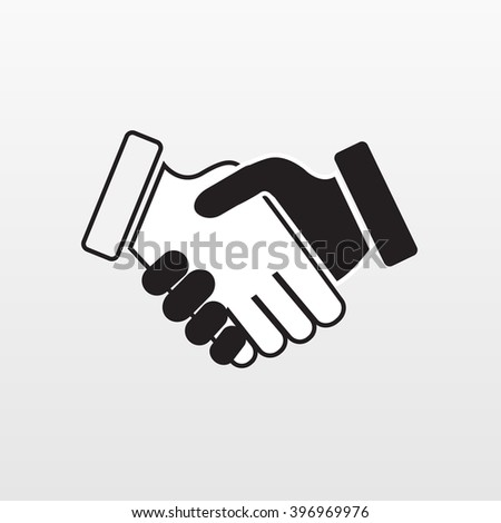 Gray Hand shake icon on background. Modern simple flat handshake sign. Business agree, internet concept. Trendy compromise vector symbol for website design, web button, mobile app. Logo illustration  - stock vector