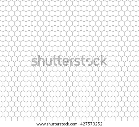Gray hexagon grid on white, seamless pattern - stock vector