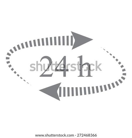 Gray 24 hours - vector icon, flat design - stock vector