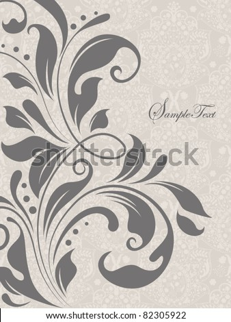 gray illustration with floral elements - stock vector