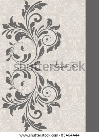 gray illustration with floral elements