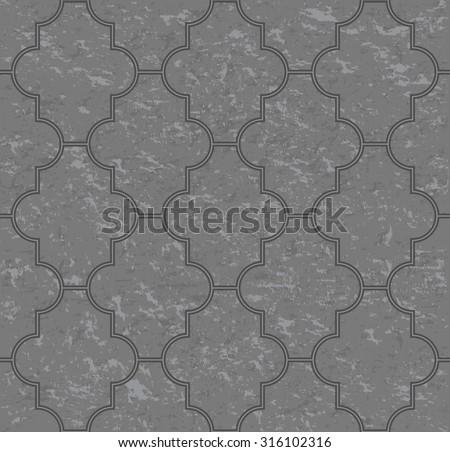 Gray interlocking paving stone texture, seamless pattern, vector - stock vector