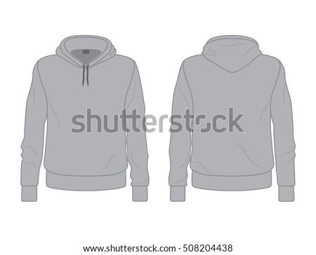 Gray Mens Hoodie Template Front Back Stock-Vektorgrafik 508204438 ...