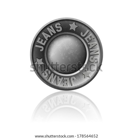 Gray metal button with inscription jeans, icon, isolated on white - stock vector