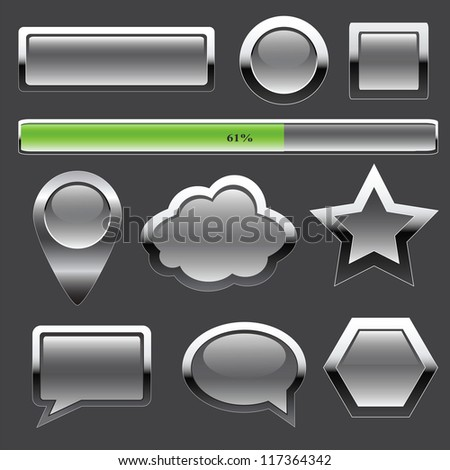 Gray metal buttons and elements of interface - stock vector