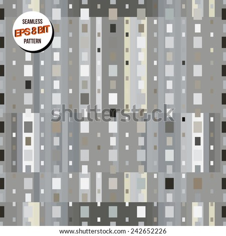 Gray minimalistic 8 bit background. Seamless pattern. Vector design. - stock vector