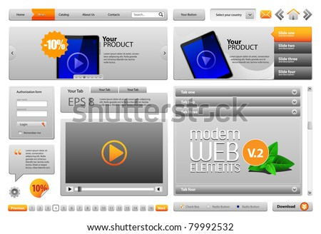 Gray Modern Website Design Elements V.2: Buttons, Form, Slider, Scroll, Icons, Tab, Menu, Navigation Bar, Bread crumbs, Video player - stock vector