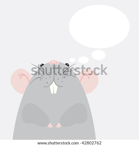 Gray mouse. Vector illustration - stock vector