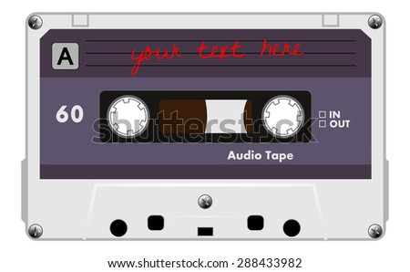 Gray music cassette with blue and grey label, audio cassette tape, vector art image illustration, old music technology concept, realistic retro style design. isolated on white background, eps10 - stock vector