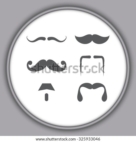 Gray Mustaches icons set  - stock vector