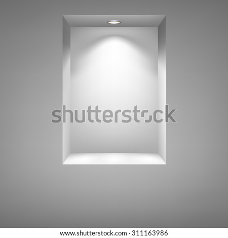 Gray niche for presentations with illuminated light. Drawn with mesh tool. Fully adjustable and scalable, vector illustration.