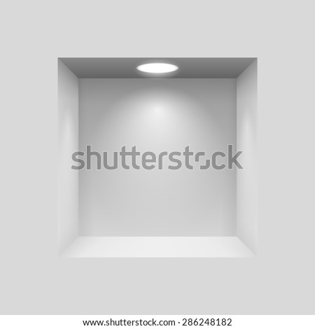 Gray niche for presentations with illuminated  light lamp - stock vector