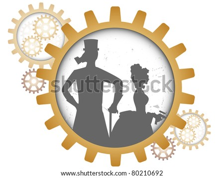 Gray outline of man and woman inside gear light grungy - stock vector