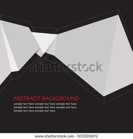 Gray Paper Origami Polygonal Shape vector on black background