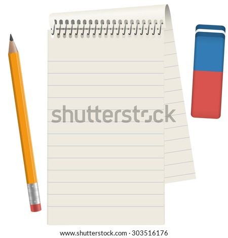 gray paper pad with pencil and eraser - stock vector