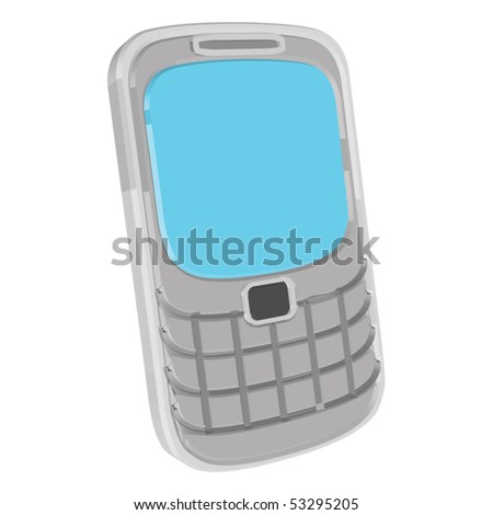 Gray phone with blue display - stock vector