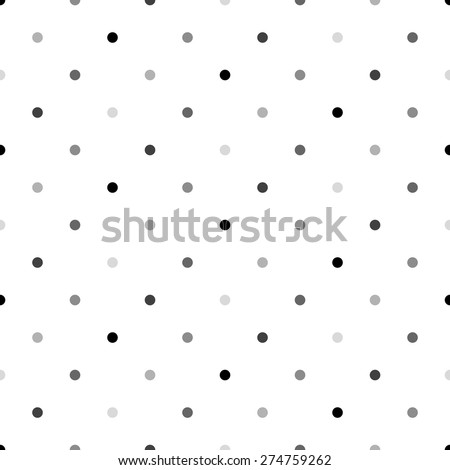 Gray Polka Dot Pattern, Seamless Background - stock vector