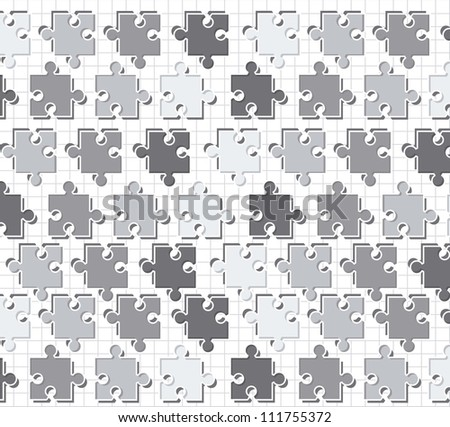 gray puzzles over paper notebook, pattern. vector illustration