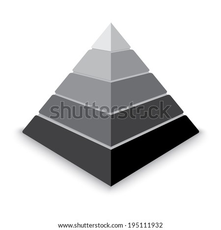 Gray pyramid design element isolated on white background. - stock vector