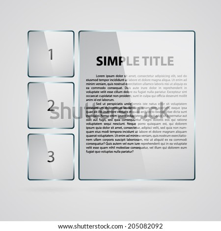 Gray rectangle glass infographic. - stock vector