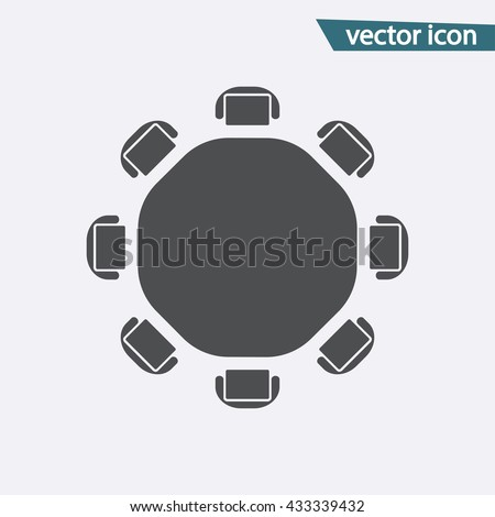 Gray Round table icon isolated on background. Modern flat pictogram, business,  marketing, internet concept. Trendy Simple vector symbol for web site design or button to mobile app. illustration  - stock vector