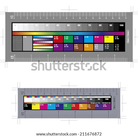 Gray scale / color control patches - stock vector