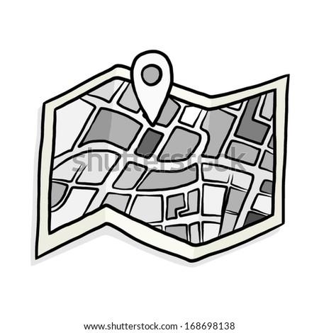 Gray Scale Map Check Symbol Cartoon Stock Vector 168698138