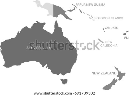 gray scale oceania australia map labeled