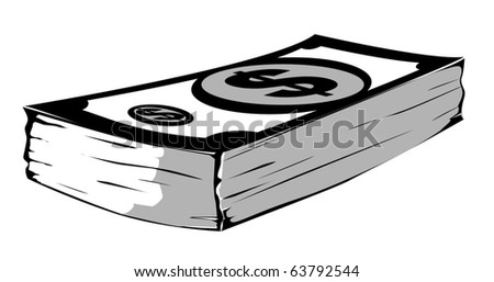 gray-scale vector dollar stock - stock vector