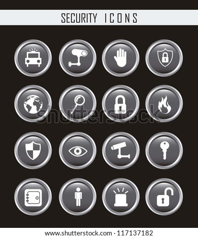 gray security icons isolated over black background. vector