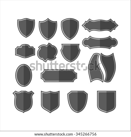 Gray shield - stock vector
