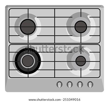 Gray shut down gas stove - stock vector