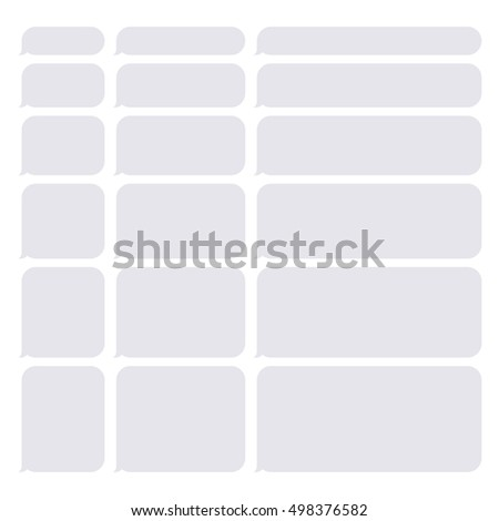Gray Smartphone SMS Chat Blank Bubbles Set. Vector