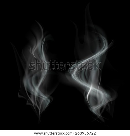 Gray smoke isolated on black background. Vector image. - stock vector
