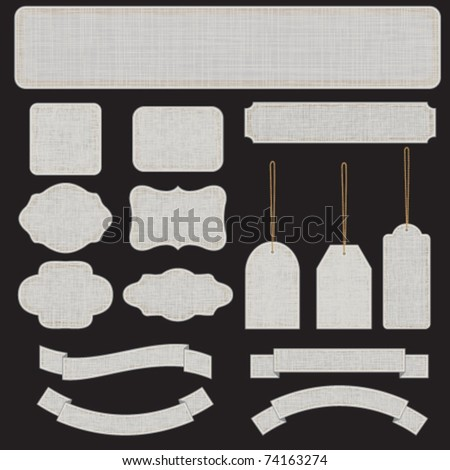 Gray textured banners and labels - stock vector