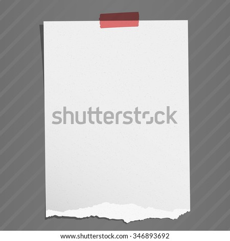 Gray torn grainy note paper with adhesive tape on striped background - stock vector