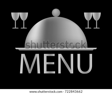 Gray tray, kitchen utensils, isolated, closed tray on a black background, menu label
