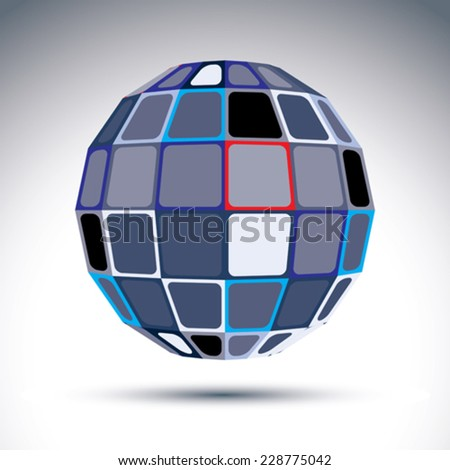Gray urban spherical fractal object, 3d disco ball. Kaleidoscope orb created from squares and four-side figures with outline.