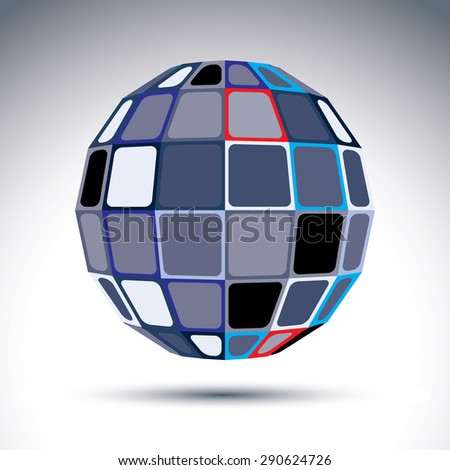 Gray urban spherical fractal object, 3d metal mirror ball. Kaleidoscope orb created from squares and four-side figures with outline.