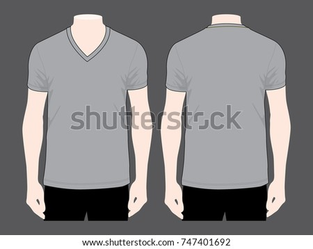 Gray Vneck T Shirt Template Stock Photo (Photo, Vector, Illustration ...