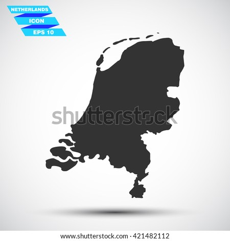 gray vector illustration icon map state netherlands on gradient background - stock vector