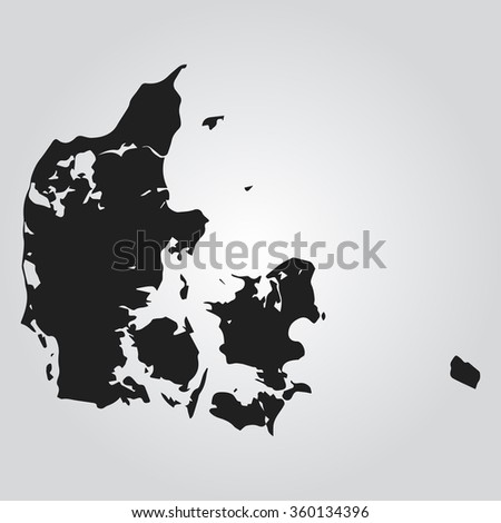 Gray Vector map - Denmark - stock vector