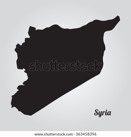 Gray vector map Syria. Isolated vector Illustration. Black on Gradient background. EPS Illustration with an inscription Syria. - stock vector