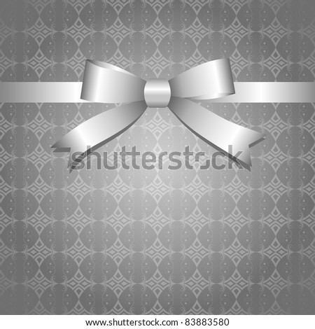 gray vintage background with glossy silver bow - stock vector